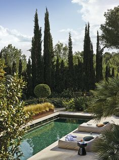 Another amazing interior design project at Son Vida, Mallorca by Jorge Bibiloni Studio Home Room Design, Home Interior Design, Interior And Exterior, Pool Indoor, Landscape Design, Garden Design, Piscina Rectangular, Piscina Interior, Dream Pools