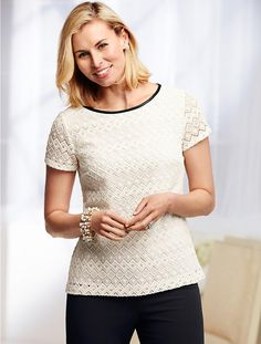 Talbots - Faux-Leather Trimmed Diamond Lace Top | |