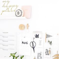 Love this desk space @thispaperbook and love how our wall decal 'my happy place' is included! Shop our range of removable wall decals at www.toucanonline.com  by toucan_