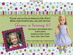 Custom AMERICAN GIRL doll Photo Birthday invite so cute