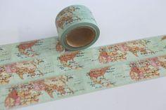 Scrapbooking-Tape - Tape URLAUB Weltkarte Globus Länder  - ein Designerstück von bespokedesign bei DaWanda