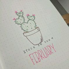 Bullet journal monthly cover page, February cover page, cactus drawing, Valentine's Day bullet journal theme.   @lovestudiesz