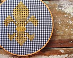 Fleur de Lis Chicken Scratch Gingham Embroidery Pattern $5.00