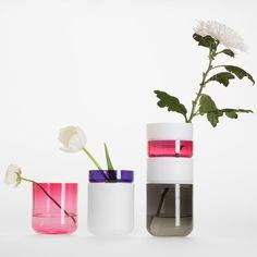 Glass rings stack to form Pi-no Pi-no vases by Maija Puoskari