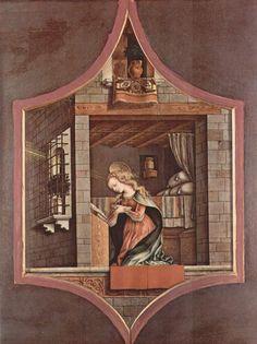 Carlo Crivelli  (1435 – 1495) |  Polittico di San Domenico di Camerino. Vergine annunciata (detail). Francoforte, Städel.