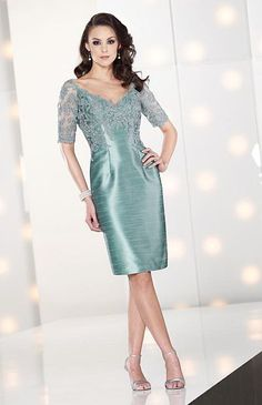 Social Occasions by Mon Cheri Cocktail Dress 212804 with Lace Sleeves image..mother of bride.