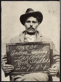 Name: Andrea Laudano  Arrested for: Larceny  Arrested at: North Shields Police Station  Arrested on: 21st July 1904  Tyne and Wear Archives ref: DX1388-1-63-Andrea Laudano