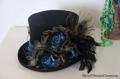 Black Top Hat, Teal Peacock Steampunk Mad Hatter, Alice In Wonderland, Victorian Riding Hat, Purple Crystal Beads, Wool Felt READY TO SHIP on Etsy, $95.00 by 103