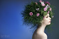 Now, how would i go about that... I wonder if you could make a wig with live flowers and then plant it later?