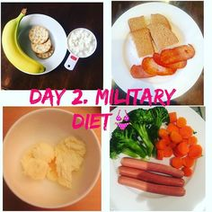 Day 2. Military Diet --I'm HUNGRY!!-- lol thinking about that new waistline yes. #militarydiet #healthy #operationyummymummy #banana #crakers #turkeyrasher #bread #cottagecheese #icecream #carrots #broccoli #chickenfrankfuerters