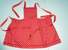 Red & white polka dot girls bib gathered apron, Girls aprons bib aprons kids aprons Size 3 girls apron Bib gathered apron Ribbon ties by beckyspillowshop on Etsy