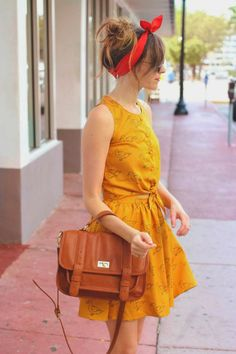 Magnificent bright chrome yellow small ducks printed cute mini dress with brown leather hand bag