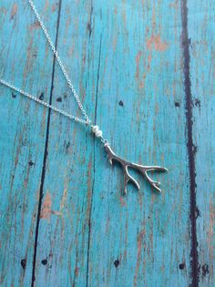 Silver Antler Necklace, Antler Necklace, Sterling Silver, Fresh Water Pearl, Hunting Necklace, Boho Jewelry