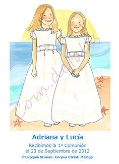 Recordatorio de comunión personalizado. Dos hermanas en la playa