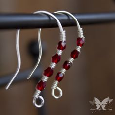 If you prefer small, lightweight earrings, these are for you!    Sterling silver ear wires, wrapped with Siam Red Czech Glass Crystals.  These are small and subtle, but have a lot of sparkle!   **This item is made to order, and the finished product may be slightly different from the earrings ...