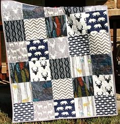 Woodland Boy Quilt Baby Bedding Modern Aztec Elk Deer Bears Feathers Antlers Navy Blue Grey Buck Chevron Handmade Crib or Toddler Size