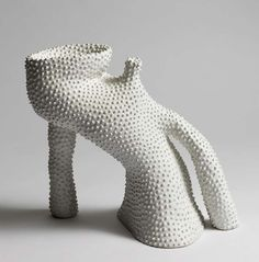 Lone Skov Madsen's pieces are intense studies of form. The sculptural objects often have white 'dotted' surfaces or layers of glaze in dark nuances. Ceramic Clay, Ceramic Pottery, Pottery Art, Ceramic Sculpture Figurative, Abstract Sculpture, Pottery Sculpture, Ceramic Sculptures, Keramik Vase, Contemporary Ceramics