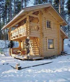 Cabin in Finland~That upper deck...Love it!