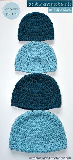 Crochet Beanie Pattern in Everywhere! Crochet Beanie Pattern simple double crochet hat - a free crochet pattern sizes: preemie to adult lpyhwwi Crochet Simple, Cute Crochet, Crochet Crafts, Crochet Projects, Knit Crochet, Crocheted Hats, Crochet Fall, Crochet Ideas, Double Crochet Beanie Pattern