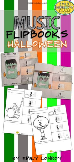 "Halloween Music Flipbooks are such a cute craftivitiy for elementary music students! Students color, cut, and glue the craft together and then write the name of each line or space note under the corresponding flap. The four letters under each flap spell a ""secret word"" which I use as an exit ticket for the day!"