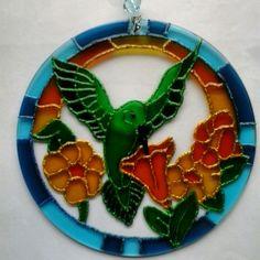 Mandala Beija-flor 15cm - vidro  Www.capembas.com.br
