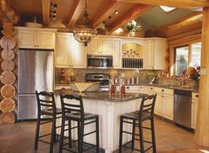 small log home kitchen.....love the cabinets. Island could be a little bigger, maybe curved?!