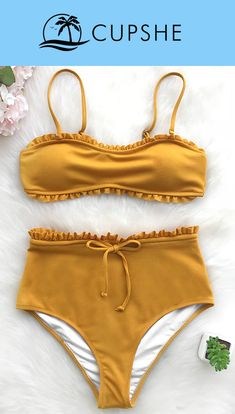 Get a fresh start. Cupshe can give you best of the best. Cute soft piece as Cupshe Bright Sunshine Solid Bikini Set! Take it for summer beach trip for best fit and look. Live life on the beach~