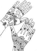 Coloriage adulte Tatouage mains