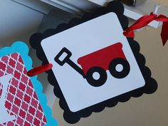 Red Wagon Happy Birthday Banner Little Red Wagon by GiggleBees, $26.00