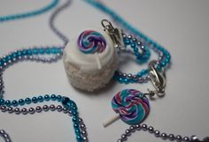 Lollipop Cupcake Necklace, Miniature Food Jewelry, Polymer Clay Food Necklace