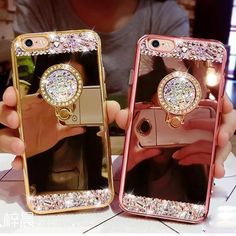 Luxury Bling Diamond Ring Holder Acrylic Mirror Case For Apple iPhone 7 Plus Iphone 7, Apple Iphone, Iphone Cases, Bling, Smartphone, Acrylic Mirror, Glitter Mirror, Ring Stand, Plus 8