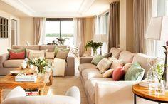 (see more) #beige #interior #tone #color #living #room #warm #sofa #pillows #cushion #design #decor #spain #apartment #light #bright #sunny #summer