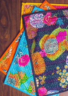 Wonderland Kantha Placemat Set of Two by SoulMakes