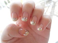 French Manicure with a glitter gradient