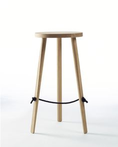 Mariner Tall American Oak Timber and Wooden Bar Stool. The double braided polyester footrest of the counter and bar versions, is sourced from sailing yachts