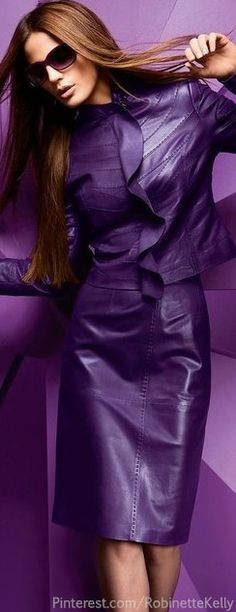 I would love to look like this in the purple suit. The Purple, All Things Purple, Shades Of Purple, Purple Dress, Magenta, Purple Leather, Leather And Lace, Leather Jacket, Women's Jackets