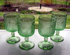 Tiara Indiana Glass 4 Chantilly Green Sandwich Stemmed Table Wine Goblets #IndianaGlass