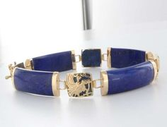 Vintage 14 Karat Yellow Gold Lapis Lazuli Dragon Bracelet Estate Jewelry Heirloom