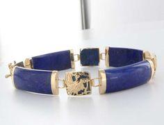 Vintage 14 Karat Yellow Gold Lapis Lazuli Dragon Bracelet Estate Jewelry Heirloom