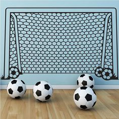 Soccer Net Goal Football Ball Vinyl Wall Decal Art Sticker Decor Mural    Size: 35.4in W x 21.7in H (95cm x 55cm)    Ideal for Walls,