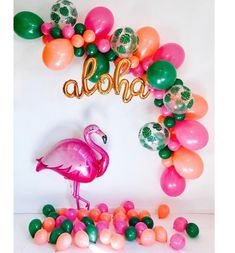 Balloon Arch Diy, Balloon Garland, Balloon Decorations, Mini Balloons, Gold Balloons, Latex Balloons, Luau Baby Showers, Tropical Bridal Showers, Flamingo Birthday