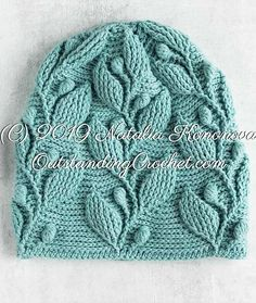 Diy Crafts - Climbing Vine Embossed Crochet Beanie Hat with written and video instructions, charts / graphs. Crochet Slouchy Hat, Crochet Cable, Crochet Stitches, Knitted Hats, Crochet Hats, Knit Picks Yarn, Crochet Feather, Knitting Patterns, Crochet Patterns