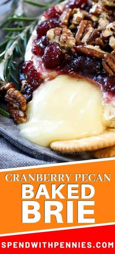 This baked brie recipe is made extra simple without pastry! Just top your brie wheel with cranberry pecan mixture and bake until ooey gooey for the best party appetizer. It is so easy to make and turns out so fancy and delicious. Best Party Appetizers, Holiday Appetizers, Yummy Appetizers, Appetizer Recipes, Simple Appetizers, Party Snacks, Salad Recipes, Brie Cheese Recipes, Baked Brie Recipes