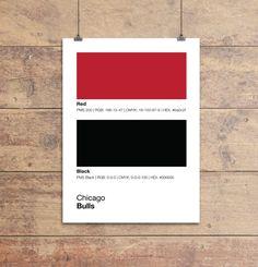 Chicago Bulls Pantone Poster - NBA Man Cave Bull - Print, Boyfriend Gift, Fathers Day Gift - Wall Art-Decor