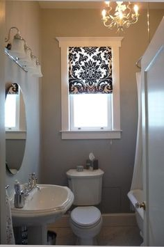Window Treatment for second bathroom window yup just buy two shower curtains and make the blind with the second one