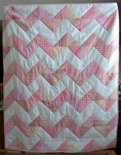 @Ann Symes (Magpie Quilts) has a baby quilt pattern that is the sweetest around! Her easy-to-follow instructions will show you how to make a chevron quilt pattern and add some cozy minkee fabric that will make this baby quilt not only gorgeous to look at, but warm and cuddly for baby.