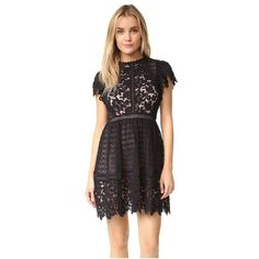 Rebecca Taylor Short Sleeve Lace Mix Dress (600 SGD) ❤ liked on Polyvore featuring dresses, black, see-through dresses, lace mini dress, short dresses, fit and flare dress and lace dress