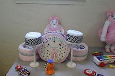 Little girl drum diaper cake for baby shower