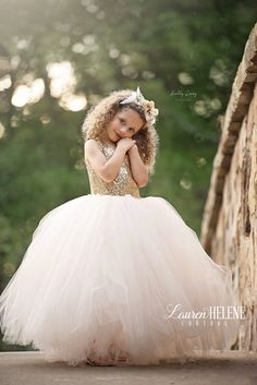The Anna Grace Flower Girl Dress (shown in Blush & Gold Sequin)