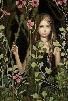 Girl in The Flower Garden